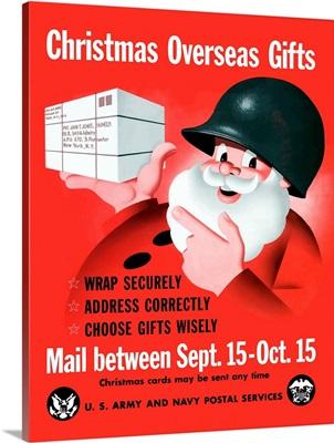 Digitally restored vector war propaganda poster. Christmas Overseas Gifts