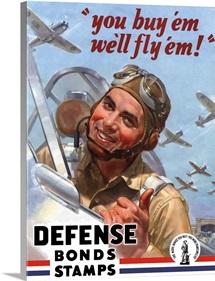 Digitally restored vector war propaganda poster. Defense Bond Stamps