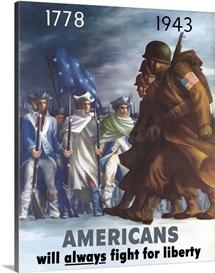 Digitally restored vector war propaganda poster.  Fight For Liberty