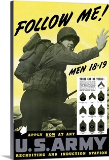 Digitally restored vector war propaganda poster. Follow Me!