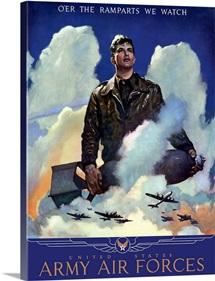 Digitally restored vector war propaganda poster. O'Er The Ramparts We Watch