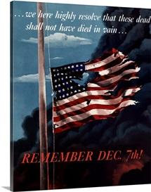 Digitally restored vector war propaganda poster. Remember December 7th!
