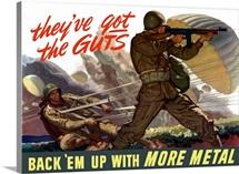 Digitally restored vector war propaganda poster. They've got the guts