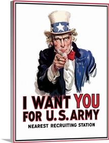 Digitally restored vector war propaganda poster. Uncle Sam vintage war poster.