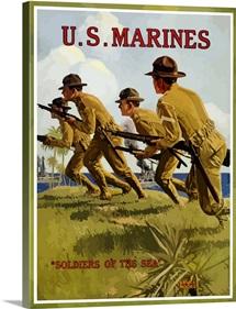 Digitally restored vector war propaganda poster. US Marines, Soldiers Of The Sea