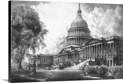 Digitally restored vintage print of the U.S. Capitol Building