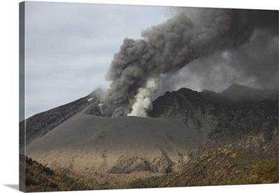 Emission of ash from Sakurajima volcano, Japan