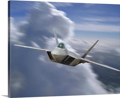 F-22 Rapter flying over Sacramento, California