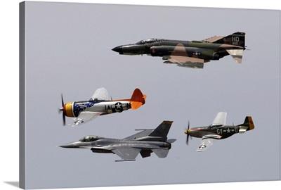 F-4 Phantom, P-47 Thunderbolt, F-16 Fighting Falcon and P-51 Mustang