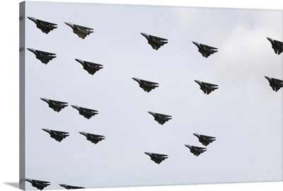 F14D Tomcats conduct a flyover of Naval Air Station Oceana airfield
