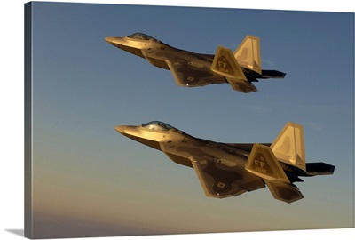 F22A Raptors fly over Langley Air Force Base Virginia