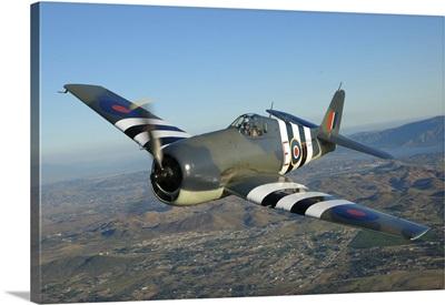 F6F Hellcat flying over Chino, California