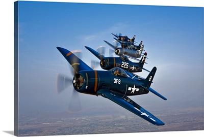 Five Grumman F8F Bearcats in formation