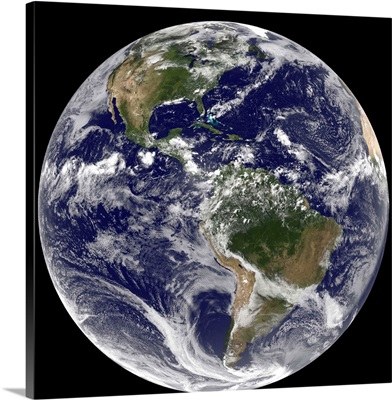Full Earth showing North America and South America