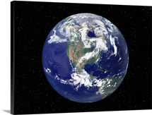 Fully lit Earth centered on North America