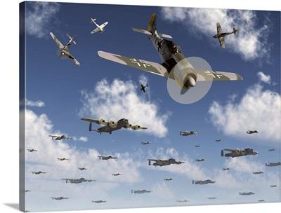 German Focke-Wulf 190 fighter aircraft attack British Lancaster bombers
