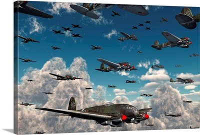 German Heinkel He 111 bombers gather over the English Channel