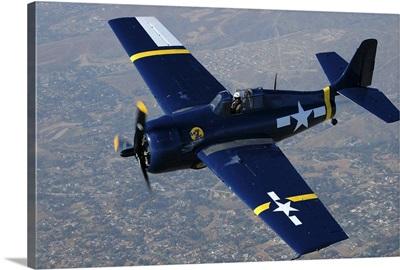 Grumman F4F Wildcat flying over Chino, California