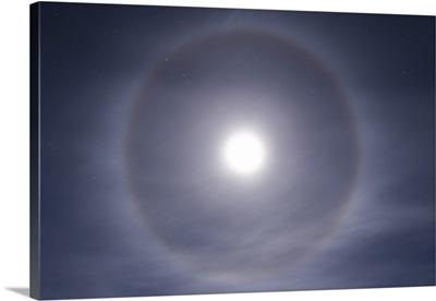 Halo around full moon taken near Gleichen, Alberta, Canada
