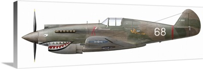 Illustration of a Curtiss P40-C Warhawk of the Flying Tigers
