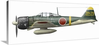 Illustration of a Mitsubishi A6M2 Zero fighter plane
