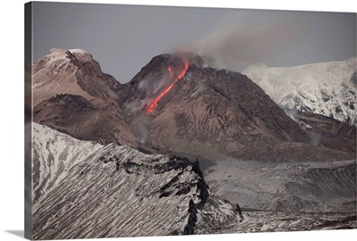 Incandescent rockfall of glowing lava down flank of Shiveluch Volcano