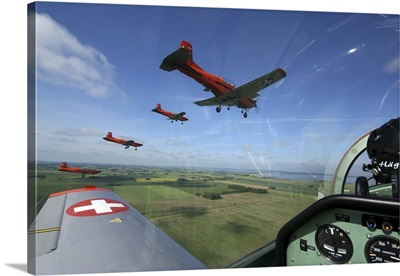 Inside the Pilatus PC-7 turboprop trainer of the Swiss Air Force display team