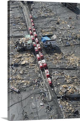 Japanese fire trucks line a road in this aerial view of Sukuiso, Japan