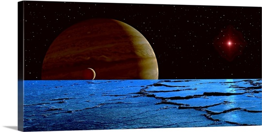 Jupiter And Its Moon Lo As Seen From The Frozen Surface Of