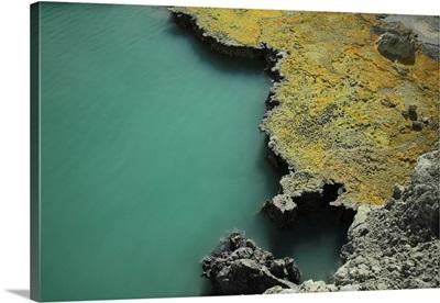 Kawah Ijen acid lake with sulfur coast Java Island Indonesia