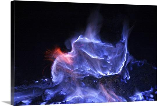 Kawah Ijen burning sulfur Java Island Indonesia