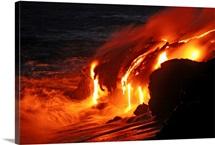Kilauea lava flow sea entry Big Island Hawaii
