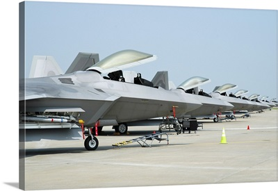 Line-up of U.S. Air Force F-22A Raptors at Langley Air Force Base, Virginia