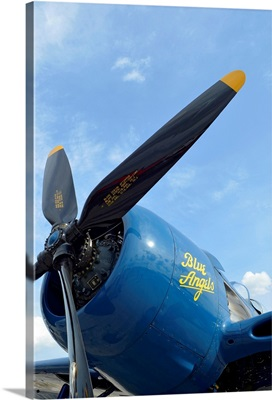 Low angle view of the propeller on a F8F Bearcat