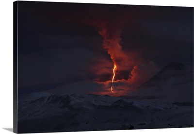Nighttime eruption of Kliuchevskoi Volcano, Russia