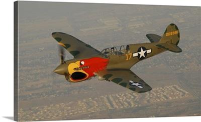 P-40 Warhawk flying over Chino, California