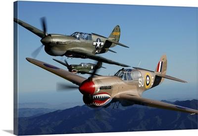 P-40 Warhawks flying over Chino, California