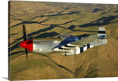 P-51D Mustang flying over Chino, California