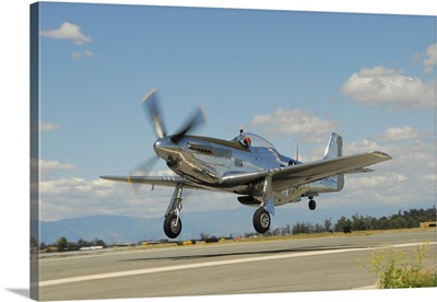 P-51D Mustang taking off from Chino, California