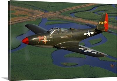 P-63 Kingcobra flying over Northern California