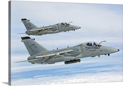 Pair of Italian Air Force AMX-ACOL flying over Italy