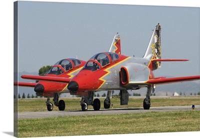 Pair of Spanish Air Force C-101 of the Patrulla Aguila aerobatics team
