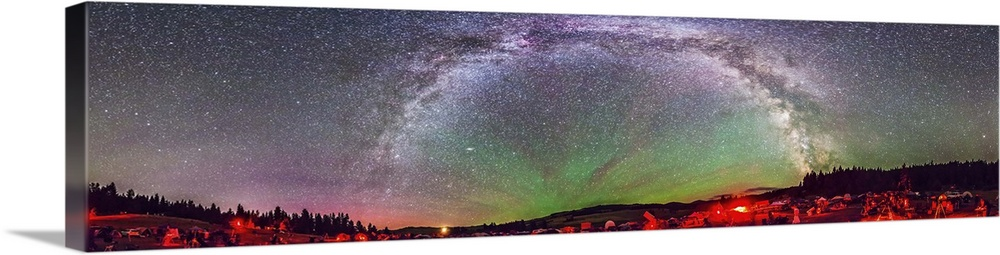 Panorama Of Milky Way Above The Table Mountain Star Party In Washington State