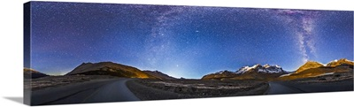 Panorama of the Columbia Icefields and Athabasca Glacier at moonrise