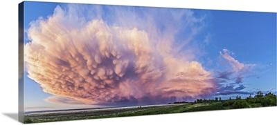 Panoramic view of mammatocumulus clouds, Alberta, Canada