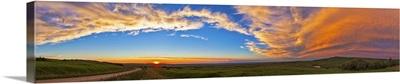 Panoramic view of sunset at Reesor Ranch, near Cypress Hills, Alberta, Canda