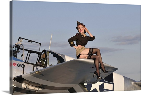 pin up girl sitting on the wing of a p 51 mustang wall art canvas prints framed prints wall. Black Bedroom Furniture Sets. Home Design Ideas