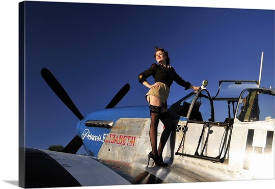 pin up girl standing on the wing of a p 51 mustang wall art canvas prints framed prints wall. Black Bedroom Furniture Sets. Home Design Ideas