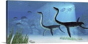 Plesiosaurus Dinosaurs Swimming The Jurassic Seas Wall Art Canvas Prints Framed Prints Wall
