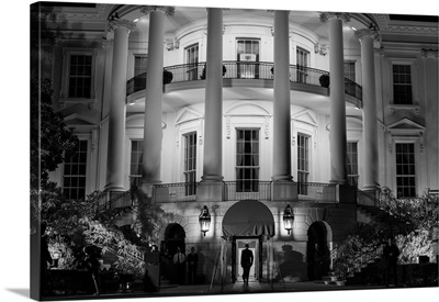 President Barack Obama Entering The White House Via The South Portico
